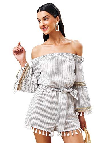 Romper Dames Elegante vintage jumpsuit trompetmouwen schoudervrij krijtstrepen zomer casual feestelijke kleding onesie mode met riem jumpsuits playsuit
