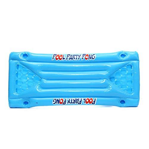 Tsubaya Inflable Cerveza Pong Flotador Mesa Piscina Balsa Salón PVC Flotante Balsa con 24 portavasos para el Juego de Pool Party - Azul