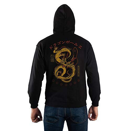 Mens Dragon Ball Z Anime Black Hooded Sweatshirt-X-Large