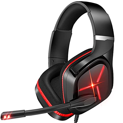 Nulliplex Casque Gaming PS4, Casque Gamer avec Micro Anti Bruit, LED lumière, stéréo, Microphone réglable, Compatible PS4 / Xbox One/Switch/PC/Mac(Rouge)