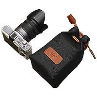 AseiwaA カメラポーチ 巾着型 合皮製 カメラケース レンズポーチ デジカメ 耐衝撃 (M, ブラック)