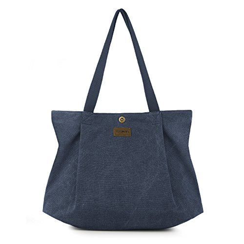 SMRITI Canvas Tote Bag for Women School Work Travel and Shopping – Blue