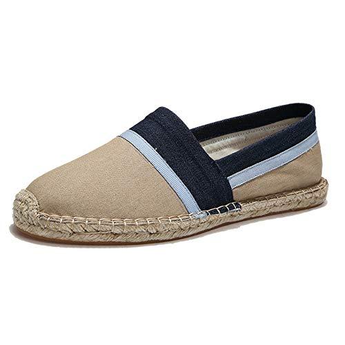 Men's Women's Espadrilles Flats Shoes Canvas Slip on Loafers Khaki EU 45-12 Women/10.5 Men