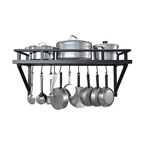 KES 24 Inch Kitchen Wall Mount Pot Pan Rack Wall Shelf With 10 Hooks Matte Black, KUR215S60-BK