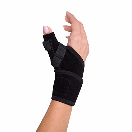 "DonJoy Advantage DA161TB01-BLK Wrap Around Stabilizing Thumb Splint, Black, Adjustable, Fits 5.5"" to 9.5"", Best for Tendonitis, Arthritis, Instability"