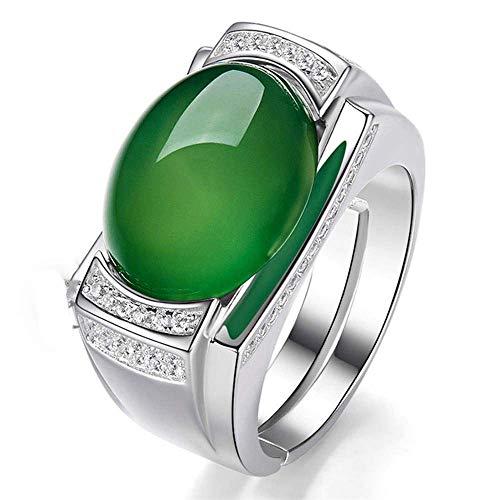 JY Forefinger Ring Anillo de apertura de plata 925 Anillos de ágata calcedonia para hombres Anillos masculino