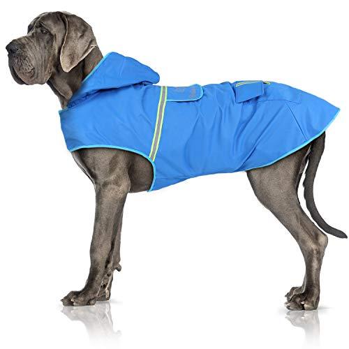 Bella & Balu Impermeabile Cane - Cappotto Impermeabile per Cani con Cappuccio e Catarifrangenti per Protezione dal Freddo, Pioggia e Neve in Inverno e in Vacanza. (XL| Blu)