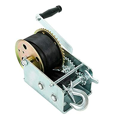 Fekuar 2500lbs Hand Winch with 24FT Strap, Heavy Duty Hand Crank Gear Winch Portable Manual Winch for Trailer, Boat or ATV