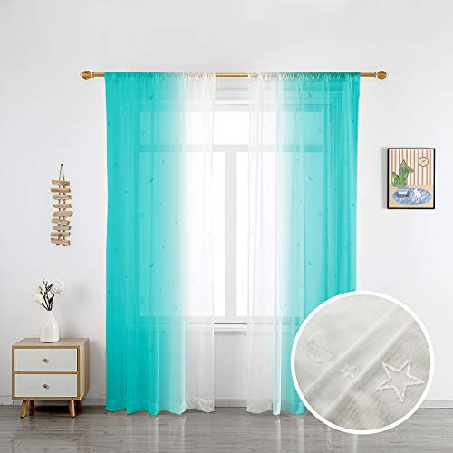 SMILETIME Stars Ombre Sheer Curtains Faux Linen Semi Voile Rod Pocket Light Filtering and Privacy Gradient Curtain for Bedroom and Living Room, Set of 2 Panels, Turquoise Gradient, 52 x 63 Inch Long