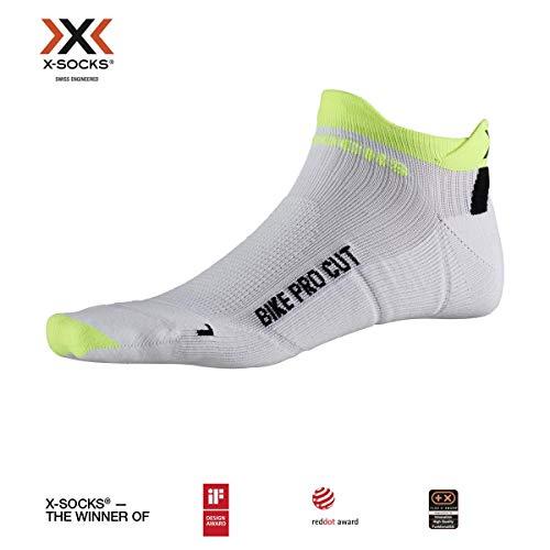 X-Socks Bike PRO Cut, Calzini da Ciclismo Unisex-Adulto, Arctic White/Phyton Yellow, 39-41