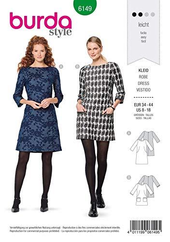 Burda 6149 Schnittmuster Kleid (Damen, Gr. 34-44) Level 2 leicht