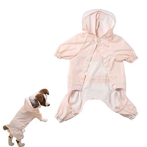 N\O Yemiany Chubasquero para Mascotas con Capucha,Chaquetas Impermeables,Borde Transparente,Impermeable para Mascotas de Cuatro Patas con elástico,para Perros pequeños,medianos y Grandes(Rosa,L)