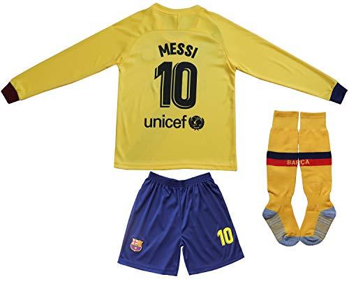2019/2020 Lionel Messi #10 Auswärts Lange Ärmel Kinder Fußball Trikot Hose und Socken Kindergrößen (Away, 28 (10-12 Jahre))