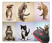 マウスパッド 正方形 ゲーム用マウスマット ヨガ 猫 ノンスリップゴムベース マウスパッド ノートパソコン/パソコン/オフィス/自宅用
