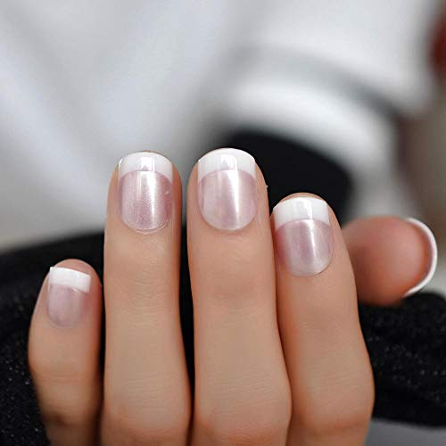TJJF Chrome French Nails Light Pink Short Square Nail Glossy R Pre-Designed Tips 24 Pcs