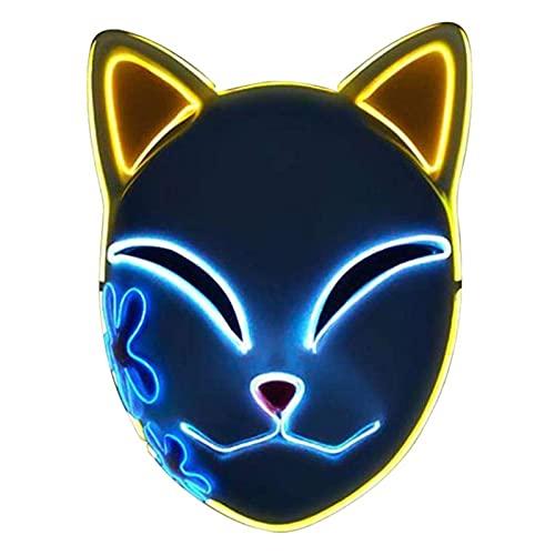 qoop Máscara De Halloween, Máscara De Gato De Zorro De Demon Slayer, con Iluminación LED, Máscaras De Cosplay Luminosa, Máscara De Anime Japonés De Halloween, Máscara LED De Cosplay (3 Colores)