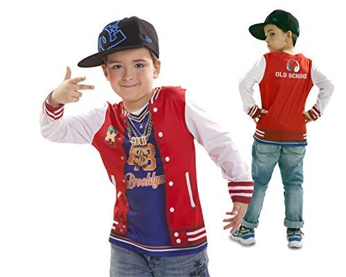 My Other Me Disfraz Camiseta de Rapero Original de Carnaval para niño de 6-8 años de Microfibra - LOLAhome