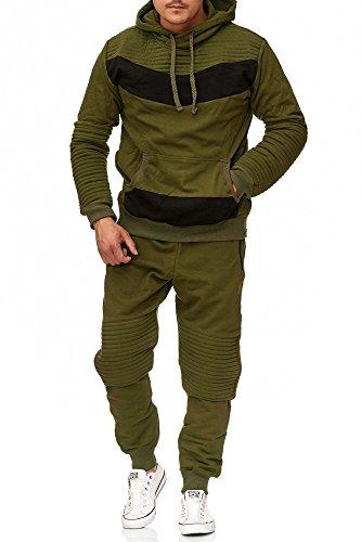 Violento Herren Jogging-Anzug | Leder Design 610 | Trainings-Anzug aus 100% Baumwolle | Kapuzen-Pullover, Jogging-Hose | Rippstrickbündchen,(L, Khaki)