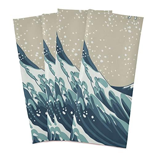 """Toallas de cocina de 18 """"x 28"""", decorativas suaves y absorbentes Toallas para platos Toallas de mano de tela para cocina, fregadero, mesa de comedor, etc., Great Wave Mount Fuji, siglo XIX, 6 piezas"""