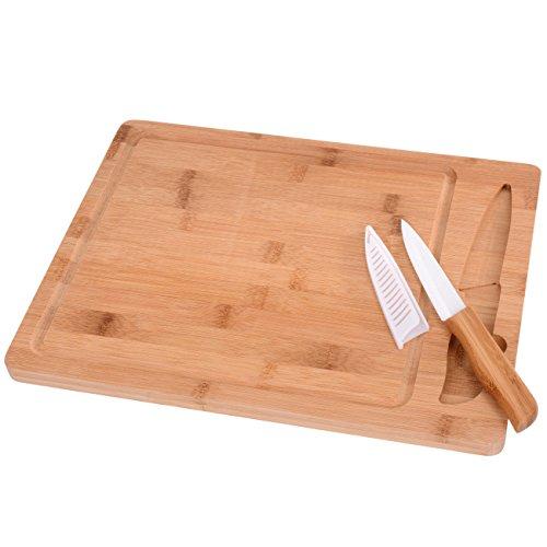 GRÄWE Bambus Schneidebrett Set mit Keramikmesser, 2-teilig, Küchenbrett aus Bambus mit Saftrille