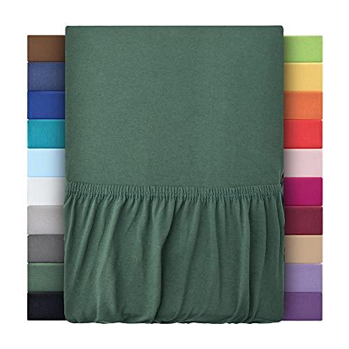 Sábanas bajeras ajustables de leevitex. Algodón 100 % en distintos tamaños y colores. Certificado de calidad Standard 100 by OEKO-TEX, 100 % algodón, verde oscuro, 140x200 - 160x200 cm