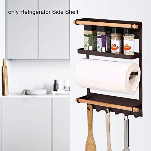 Magnetische koelkast rek, magnetische kruidenrek met papieren handdoekhouder, koelkast zijplank Multi gebruik (wit, koffie) free size Koffie