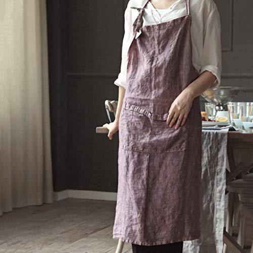 SSB Delantal de lino de color sólido para mujer, 100% lino puro, hipoalergénico, largo delantal de cocina de cocina, delantal de cabeza hecho a mano para jardinería, pintura, horneado B, 68 x 88 cm
