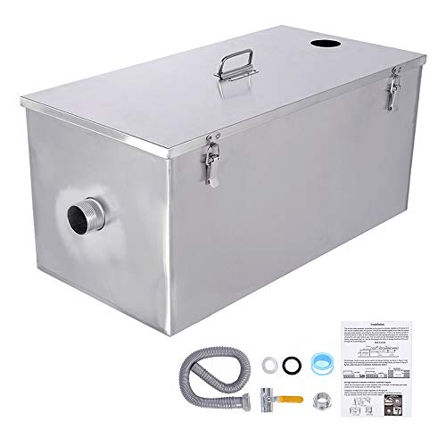 BEAMNOVA Commercial 25LB Grease Trap 13 Gallons Per Minute, Top Inlet for Restaurant Kitchen Tools