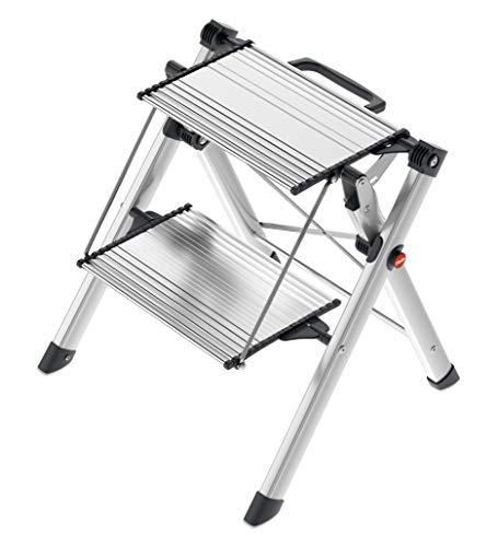Hailo MK80 ComfortLine Komfort-Trittleiter, klein und kompakt, besonders leicht, einfach zu verstauen, belastbar bis 150 kg, silber, 4310-100