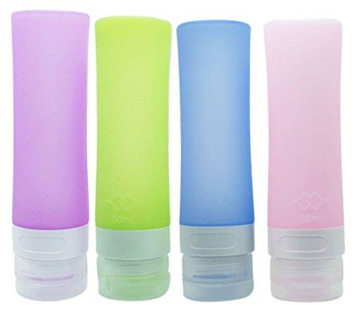 LEAMALLS 4 Piezas Silicona Botellas de Viaje Rellenable Anti-Fugas Contenedor para cosméticos Champú, Acondicionador, Loción, artículos de tocador Baño