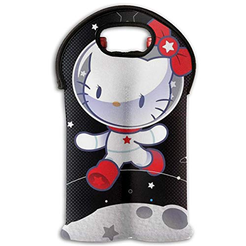 CFECUP Wine Carrier Tote Bag- Space Hello Kitty Durable Neoprene Wine/Water Bottle Tote (2-Bottle)
