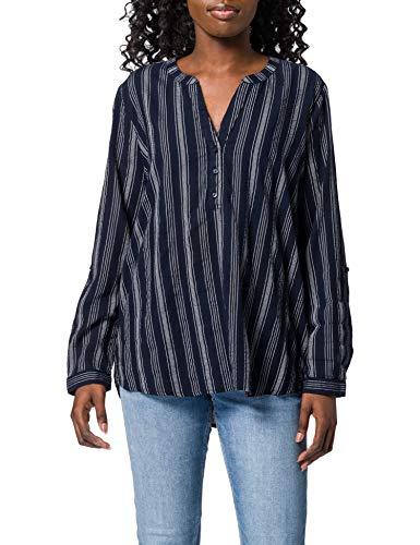 TOM TAILOR Denim 1024140 Tunica Blusas, 25909-Rayas Verticales de Color Azul Marino, Blanco, XL para Mujer