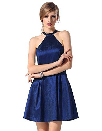 ZEARO Damen Satin Kleid Neckholder Sexy Ballkleid Abendkleid Cocktailkleid Festkleid Blau L