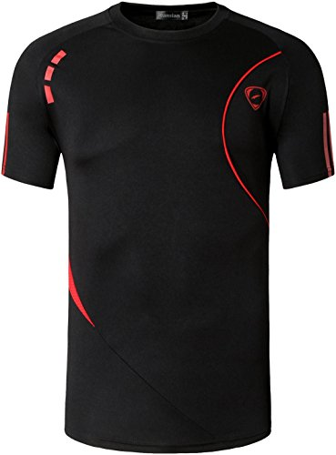 Jeansian Homme Tee Shirts Tshirts T-Shirts Sport à Manches Courtes Dry Fit Gym Fitness Workout Running Short Sleeve Men LSL1059 Black L