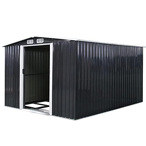 Melko Metall Gerätehaus 14,27 m³ mit Fundament Geräteschuppen mit Schiebetür Geräteschrank Anthrazit Gartenhaus Schuppen