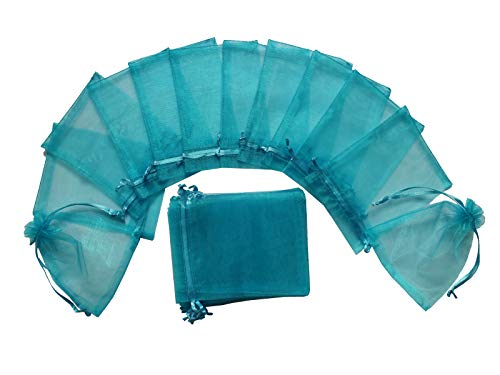 """Menghuan Organza Bags 100Pcs 3.5x4.7 Inches Gift Jewelry Candy Pouches for Wedding Party Baby Shower Favor Bags (3.5""""x4.7""""/9cmx12cm, 04 Lake Blue)"""