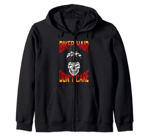 Biker Hair Don't Care - Casco de moto Dutt Sudadera con Capucha