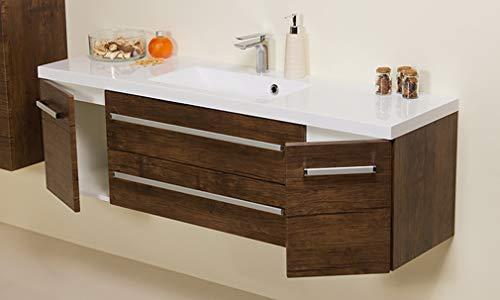 Quentis Badmöbel Genua, Breite 140 cm, Waschbecken und Unterschrank, Holzdekor antik, 2 Türen, 2 Schubladen, Softeinzug, Waschbeckenunterschrank montiert