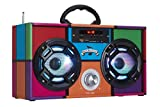 Wireless Express - Mini Boombox with LED Speakers – Retro Bluetooth Speaker w/Enhanced FM Radio - Perfect for Home and Outdoor (Retro Multi)