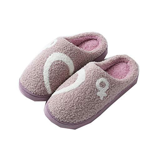 Xin Hai Yuan Zapatillas De Invierno para Mujer, Zapatillas De Lino De Piel De Casa De Algodón De Espuma Antideslizante para El Hogar,Púrpura,38/39