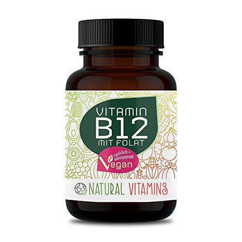 NATURAL VITAMINS® Vitamin B12 1000 µg hochdosiert - 180 Tabletten I Hochwertig durch beide Aktivformen + Depot + Folat (5-MTHF aus Quatrefolic®) I Laborgeprüft, Vegan, in Deutschland produziert