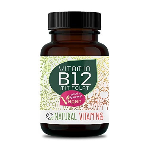 NATURAL VITAMINS® Vitamin B12 1000 µg hochdosiert I Beide Aktivformen + Depot + Folat (5-MTHF aus Quatrefolic®) I Laborgeprüft, vegan I 180 Tabletten