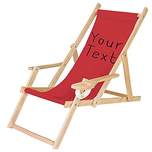 Ferocity Tumbona Plegable de Madera con Reposabrazos y Soporte para Bebidas Silla de Playa Personalizable Diseño Tu Texto Rojo [119]