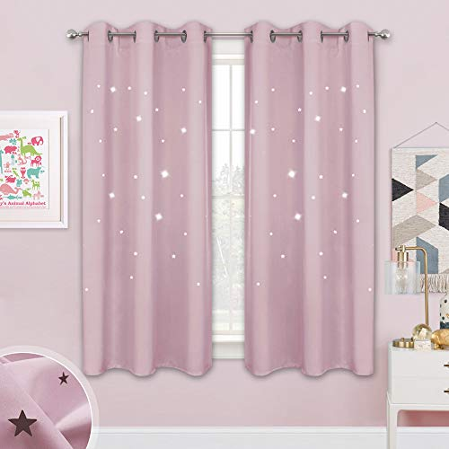 NICETOWN Children Window Darkening Curtains - Bedroom Star Cutouts Starry Night Magical Drape Panels for Girl's Princess Themed Rooms/Nursery Room (Lavender Pink, 42 inches X 63 inches, 2 Pieces)