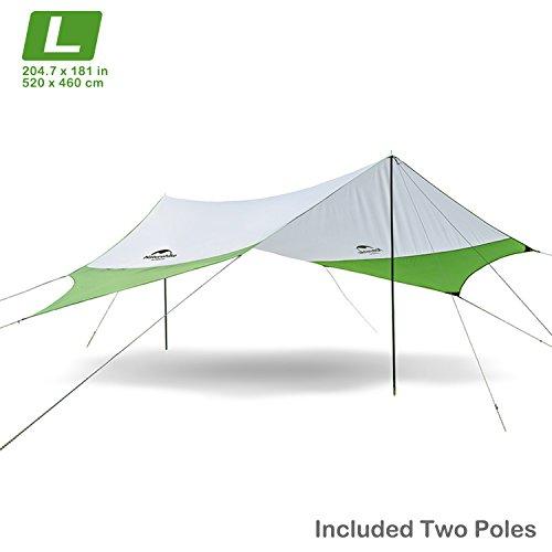 Camping Carpa Tienda de campaña para la Playa Sombra Sol Refugio toldo toldo con Postes, Ligero portátil Impermeable para Senderismo Pesca Picnic (Verde-L)