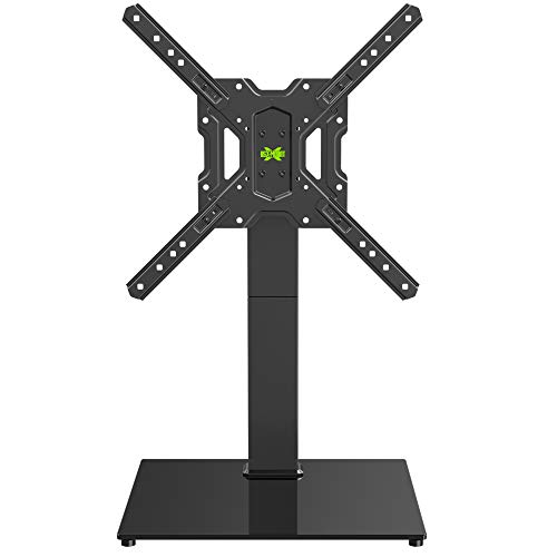 USX MOUNT TV Base with Swivel Mount for 26-55 Inch LCD LED Flat Screen TVs, Tabletop TV Stand with Tempered Glass Base, Height Adjustable, Including Cable Management