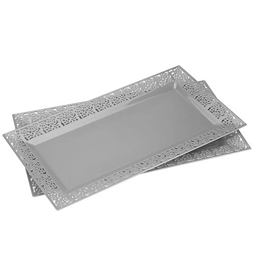 Silver Spoons and More lace Rim 14x75 Heavyweight Plastic Set of 2 Serving Trays
