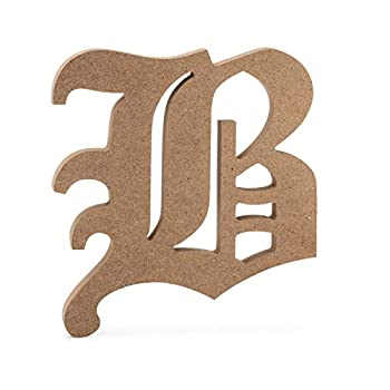6  Old English Wooden Letter B - Premium Wood Wall Letters  6 inch B