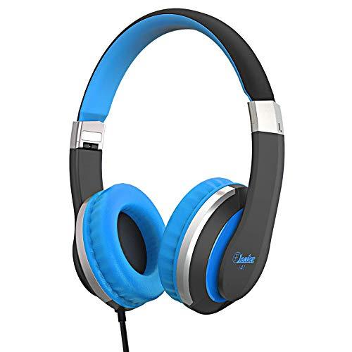 Kids Headphones Elecder i41 Headphones for Kids Children Girls Boys Teens Foldable Adjustable On Ear Headphones with 3.5mm Jack for Cellphones Computer Kindle School Black&Blue