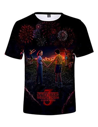 Camiseta Stranger Things Niño, Camiseta Stranger Things Mujer Unisex Impresión 3D Manga Corta T Shirt Hombre Abecedario Impresión T-Shirt Niña Camisa de Verano Regalo Camisetas y Tops (A,XXS)